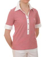 Women's Short Sleeved Polo Shirt (red/white)