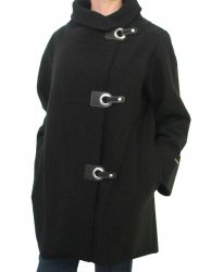 Ladies' Asymmetrical Black Boiled Wool Coat
