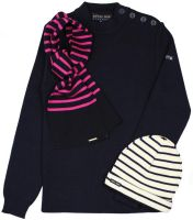 Ladies' Plain Navy Blue Breton Sweater
