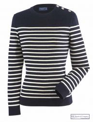 Ladies' Striped Breton Jumper, Navy Blue/Cream by Saint James