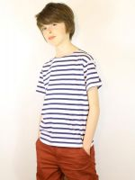 Boy's Breton Top, Short Sleeves, White/Navy Stripes