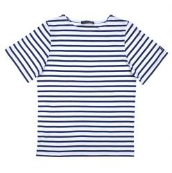 Breton Tee Shirt, White/Navy blue stripes, short sleeves