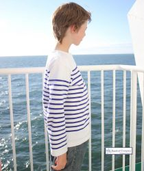 Children's Sailor Top, White/Blue (only 8yr left)