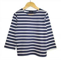 Children's Breton Tee Shirt, Navy Blue & White Stripes, Lightweight
