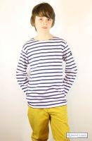 Children's Breton Tee Shirt, White with Navy Stripes, Lightweight