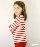Children's Breton Tee Shirt, White/Red Stripes, Lightweight