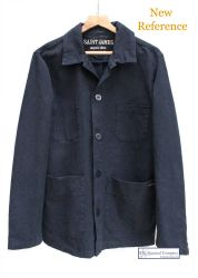 Men's Cotton Canvas French Work Jacket, Navy Blue