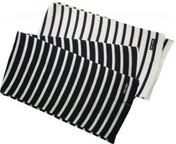 Navy Blue/Cream Wool Striped Breton Scarf