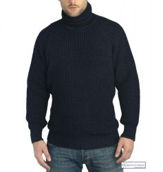 Submariner Sweater, Roll Neck, Navy Blue
