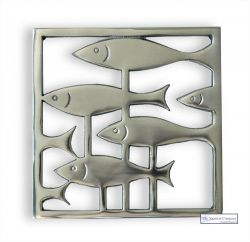 Metal Trivet, Fish Through Weeds