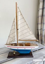 Small Sailing Yacht Model - White/Turquoise Hull