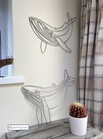 Wire Shaped Blue Whale Wall Art (Pair)